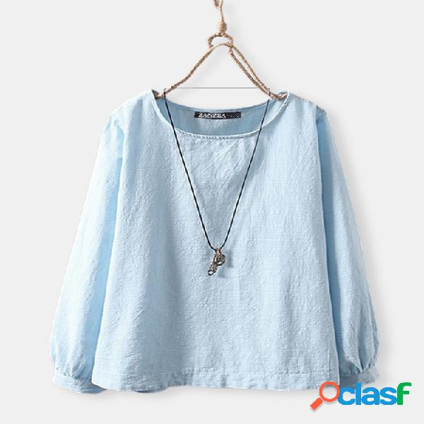 Blusa vintage tamanho plus manga bolha cor sólida