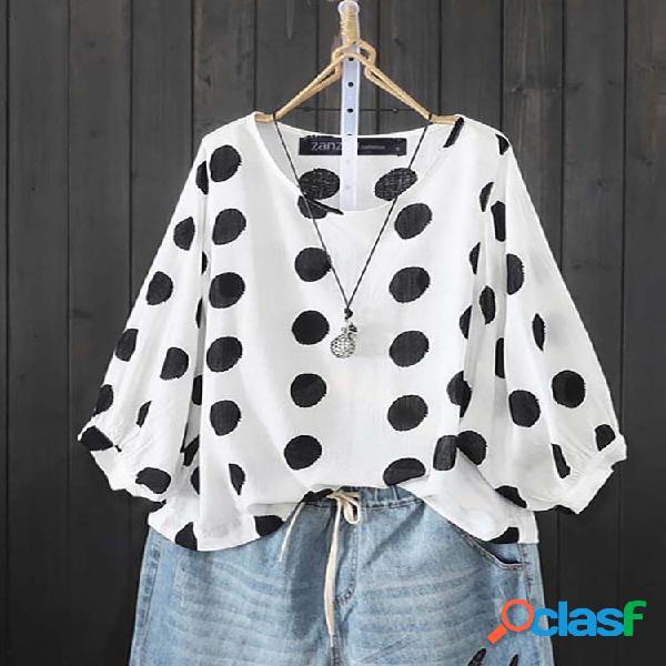 Bolinhas bolha manga comprida tamanho plus blusa