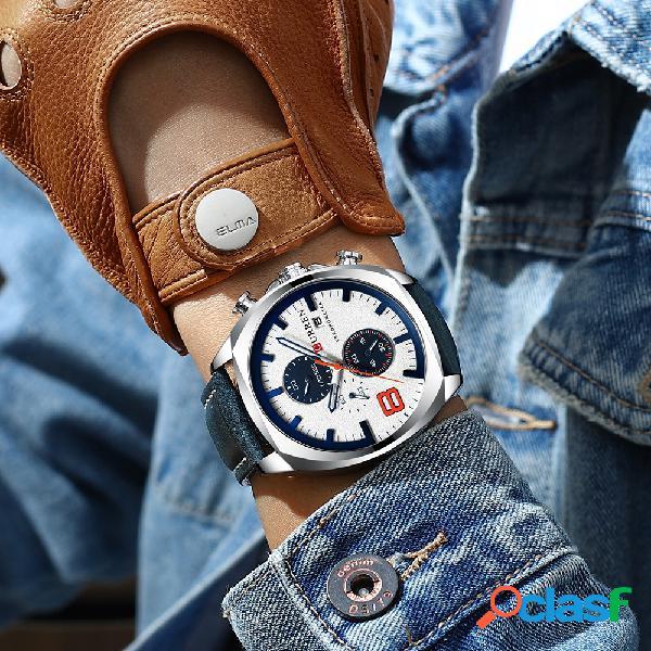 Cronômetro estilo casual masculino relógio esportivo pulseira de couro relógio analógico de quartzo