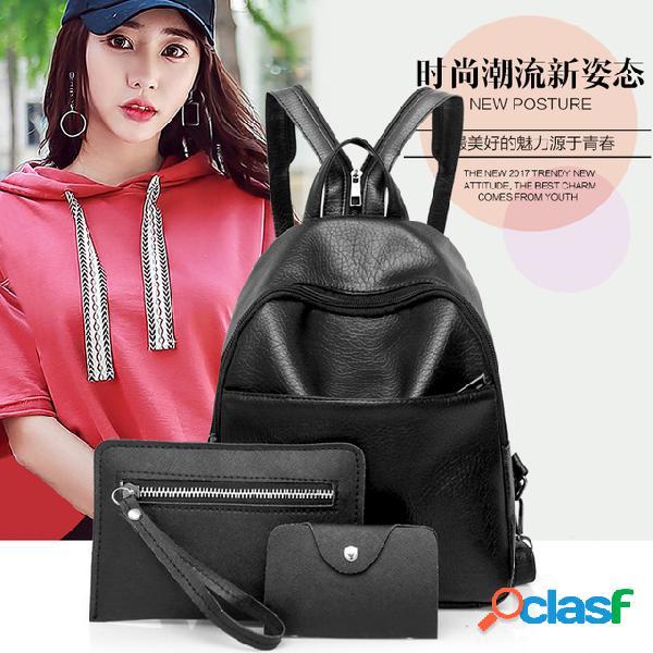 Nova tendência da moda ombro bolsa três-uso feminino bolsa multi-função mochila de três peças mãe bolsa