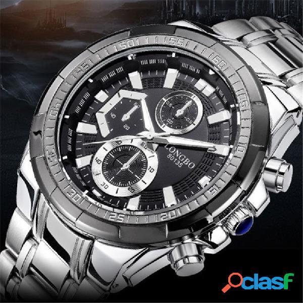 Aço inoxidável banda display luminoso falso dial men quartz watch