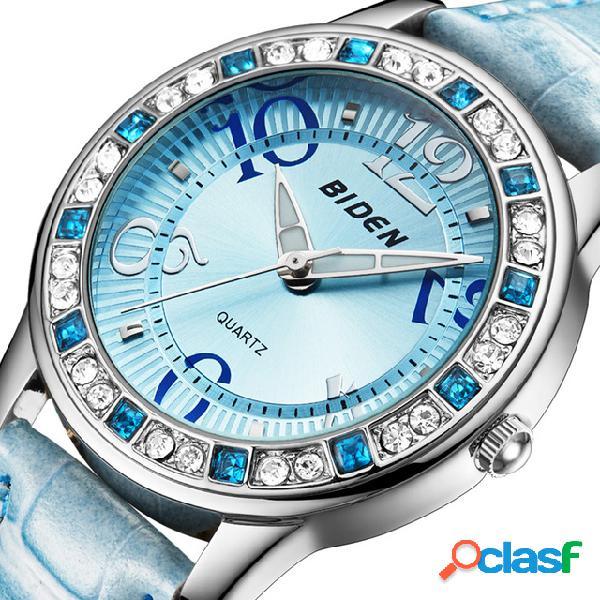 Classic relógio de pulso feminino de cristal com pulseira de couro relógio de quartzo casual