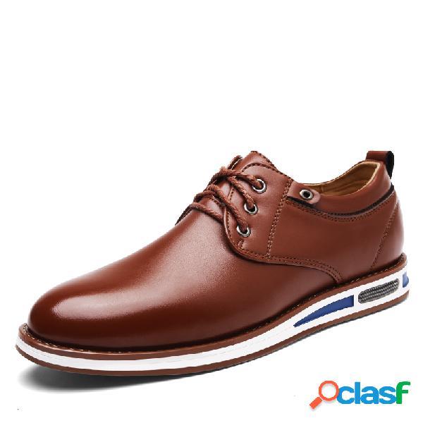 Homens de couro de microfibra comfy soft sola rendas até sapatos casuais planas