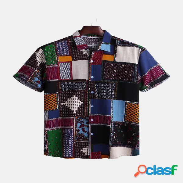 Mens patchwork engraçado impresso verão manga curta moda solta casual camisa