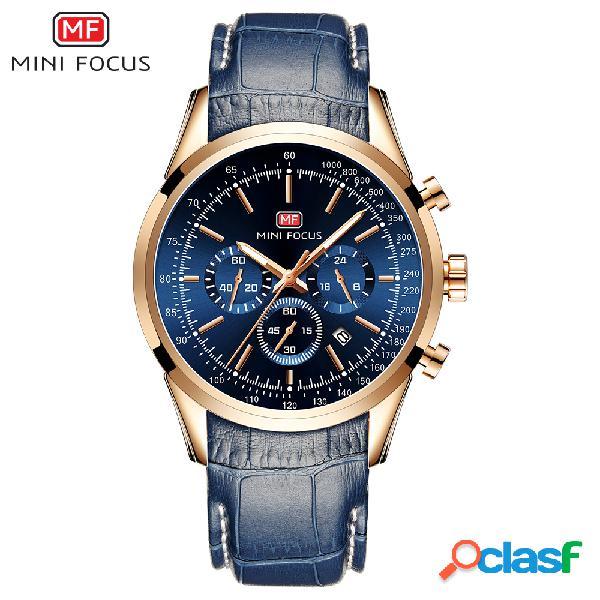 Relógio de quartzo de negócios casual impermeável cronógrafo luminoso multi-função relógios de pulso