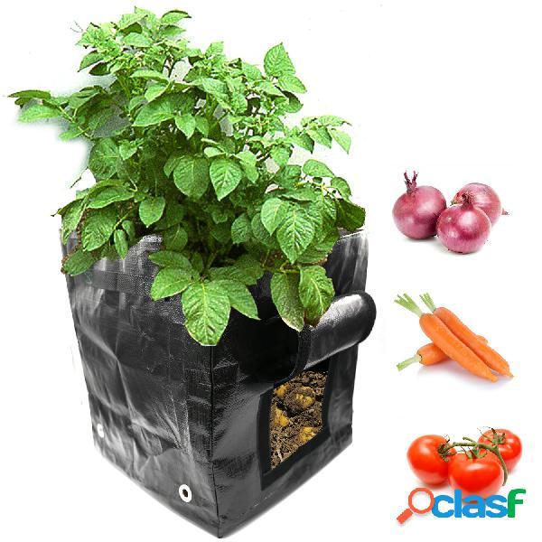 Batata preta planta grow bolsa balde de jardim quadrado preto / verde escuro plantaing bolsa pe bolsa