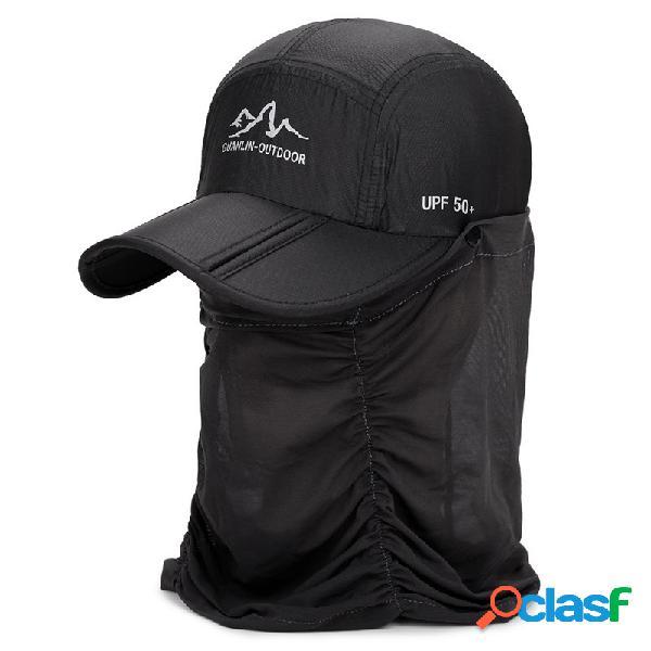 Homens mulheres verão fino beisebol de secagem rápida chapéu ao ar livre casual esportes pescoço protetor boné removível
