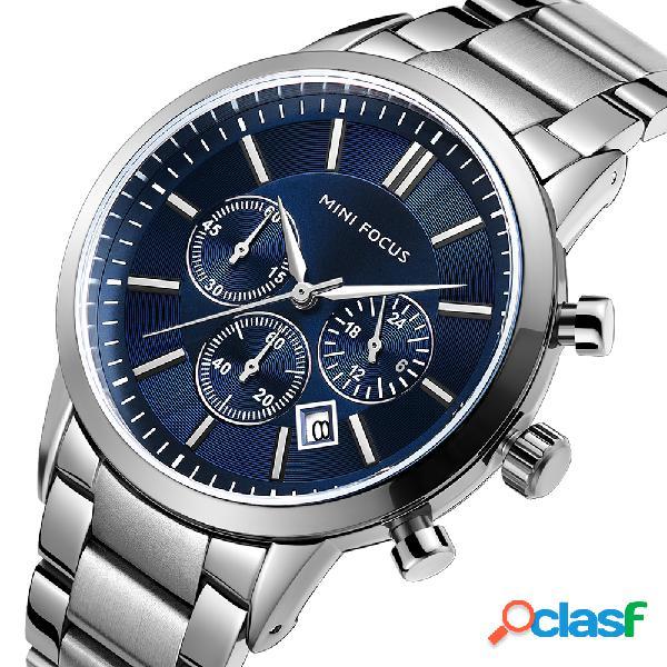 Relógio de quartzo de relógio de pulso de homens de aço inoxidável de estilo empresarial