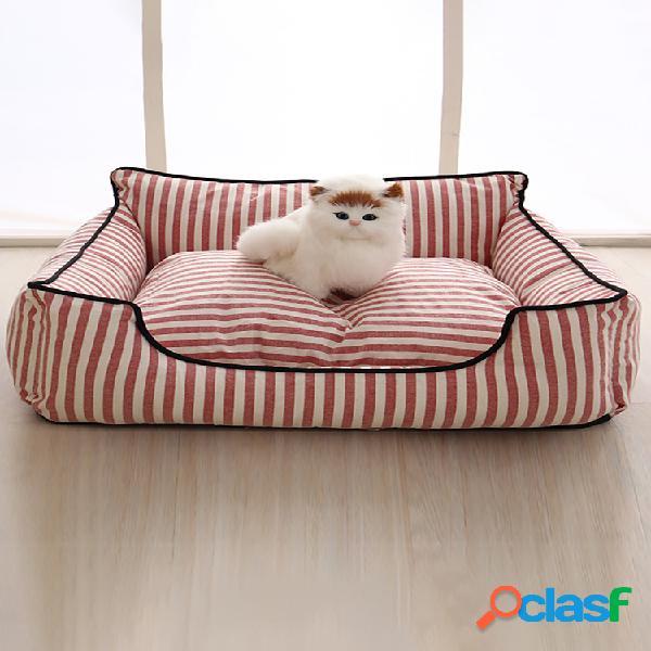 2 cores listra padrão tapete-cama para animais de estimação cachorro canil de sofá para gatos