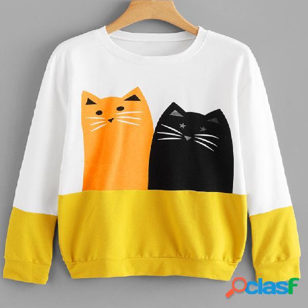 Gato dos desenhos animados imprimir patchwork manga comprida camisola