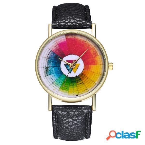 Relógio de quartzo de couro redondo de moda relógio de quartzo de couro clássico de relógio à prova d'água