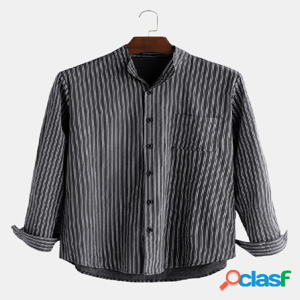 Mens cotton striped retro respirável manga comprida single-breasted loose casual camisa
