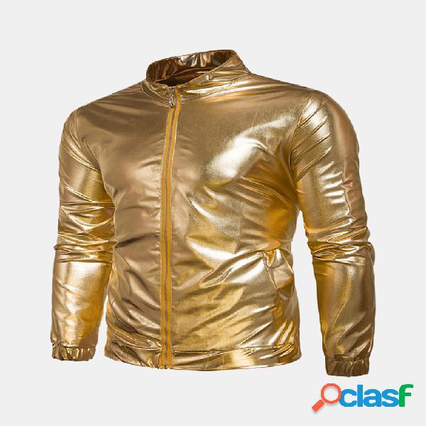 Mens reflexivo zipper bolsos lantejoulas design cor sólida manga comprida slim jacket