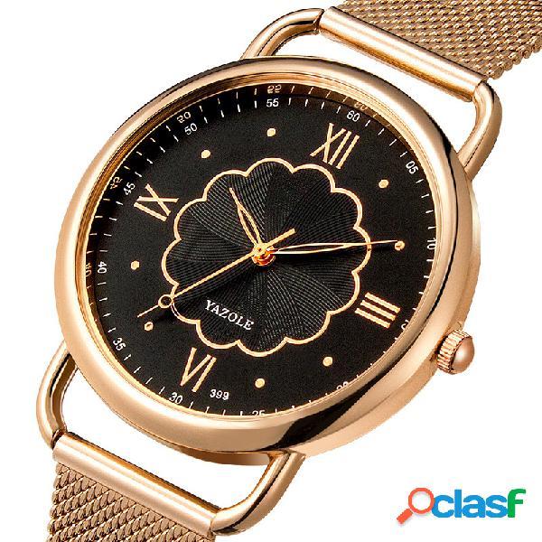 Relógio de quartzo de estilo casual rose gold caso mulheres relógio de pulso de aço cheio de mulheres assistem