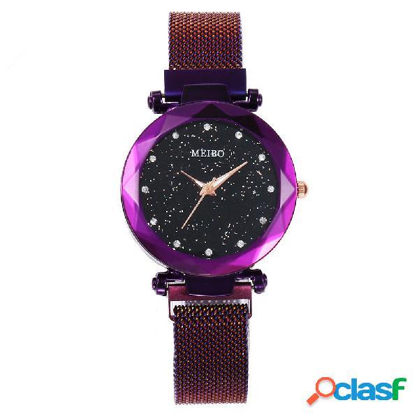 Relógio de quartzo feminino fashion starry sky relógio de quartzo impermeável em aço inoxidável