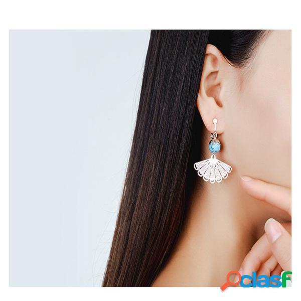 Brincos de gota de ouvido do vintage oco fan geométrica bead tassel pingente brincos jóias étnicas para as mulheres