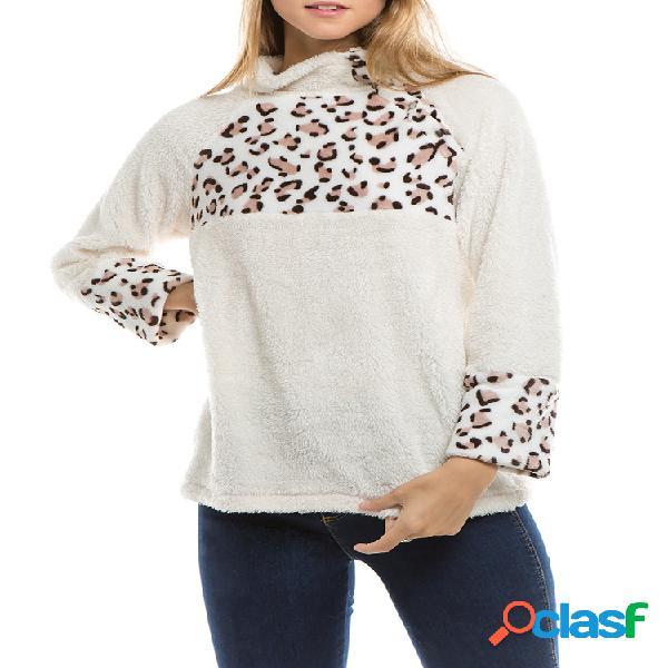 Camisola de pescoço de retalhos de impressão de leopardo fleece