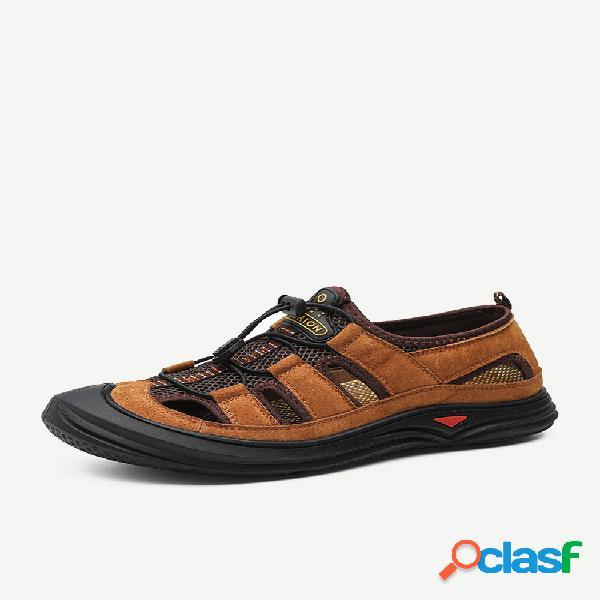 Homens anti-colisão non slip laço elástico soft sola ao ar livre sandálias de couro casuais