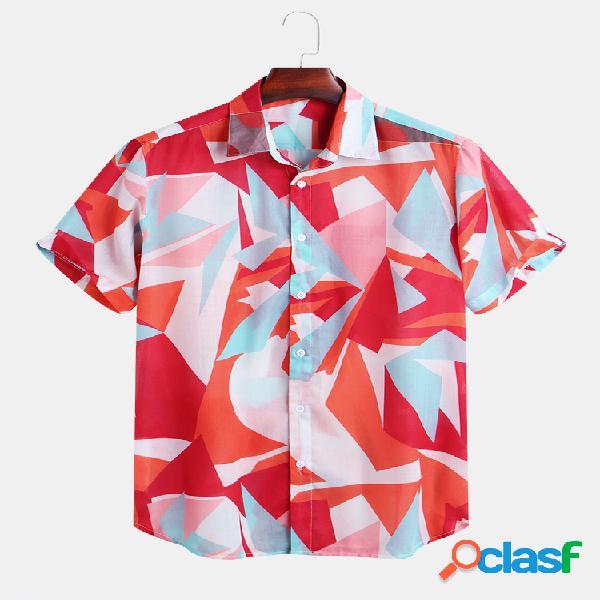 Mens patchwork geométrico impresso casual manga curta solta casual camisa