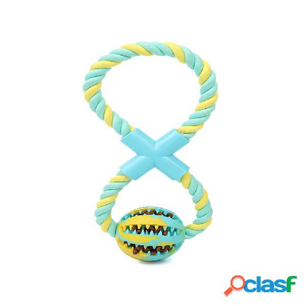 Novo cachorro brinquedo de algodão corda + bola de borracha pode ser plugged lanches food bola enigma bite-resistente brinquedos