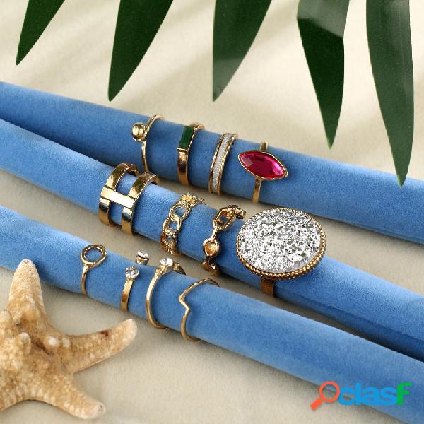 Conjunto de anel aberto de strass vintage geométrica círculo quadrado anel kit jóias étnicas