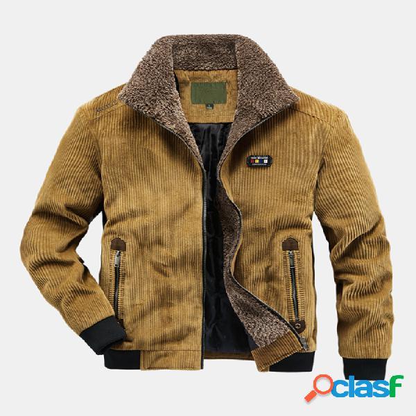 Casaco maciço casual de veludo cotelê 100% algodão plus de veludo quente de inverno masculino com zíper quente