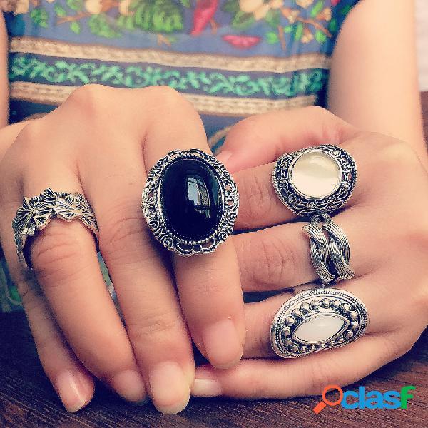 Conjunto de 5 unidades de anéis de opala vintage de metal oco esculpido antigo tibetano prata feminino anéis
