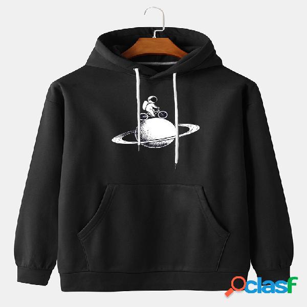 Desenhos animados masculinos, ciclismo astronauta, estampa casual pulôver com capuz e bolso canguru
