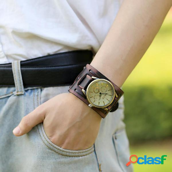 Relógio vintage pulseira de couro de vaca com rebite ajustável multicamadas relógio de quartzo unissex
