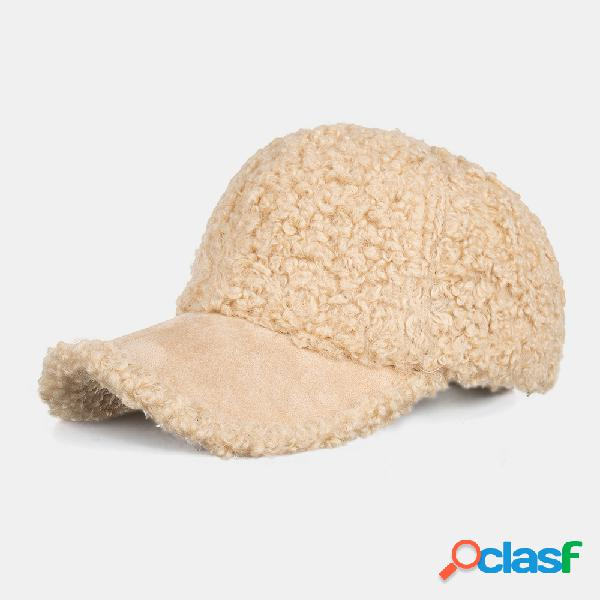 Unissex wool lamb cabelo solid casual outdoor winter manter quente protetor solar visor sun chapéu baseball chapéu