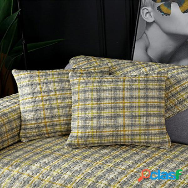 1 unidade de algodão impressa com capa de sofá em xadrez para sofá almofada moderna simples xadrez antiderrapante para sofá