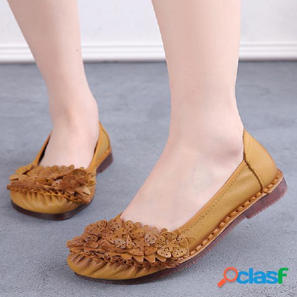 Calçados femininos de cor sólida pregueada floral soft plana para dirigir
