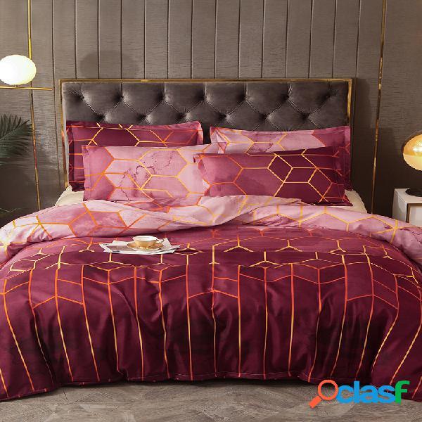 Conjunto de roupa de cama geométrica 2/3 unidades conjuntos de capa de edredão dourado vermelho conjunto de capa de cama de poliéster fronha queen size