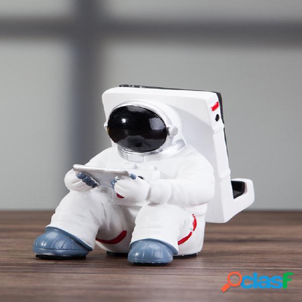 Criativo astronauta astronauta da nasa suporte para telefone móvel resina para casa decoração de mesa de artesanato