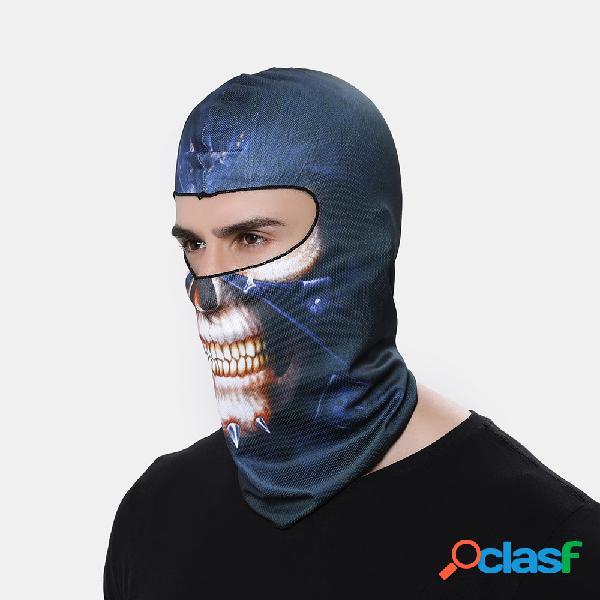 3d engraçado padrão face máscara protetor solar à prova de vento chapelaria à prova de poeira