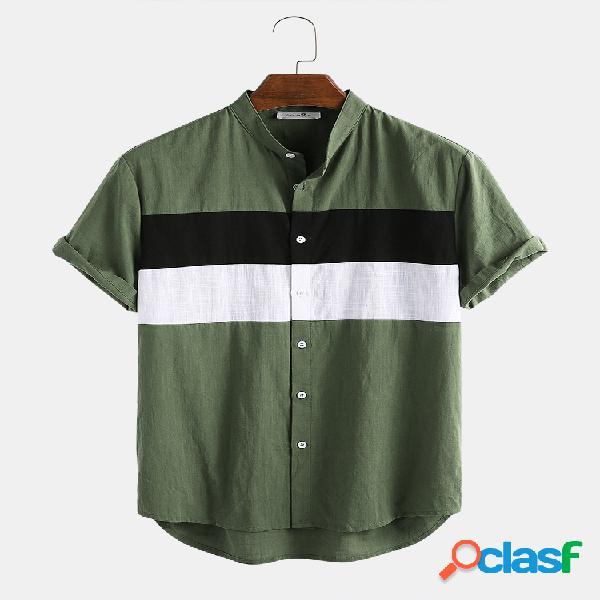 Mens 100% algodão leve cor bloco respirável patchwork manga curta camisa