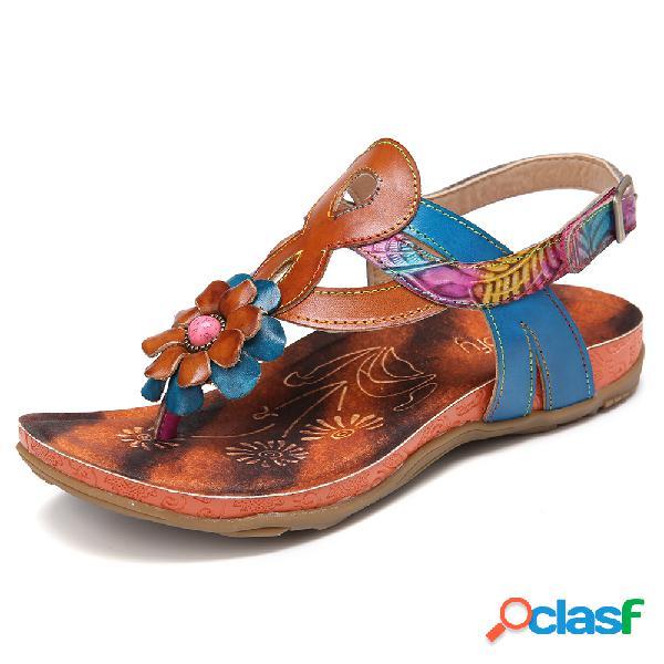 Sandálias de couro sintético de couro artesanal com cercadura floral ajustável e chinelo chinelos