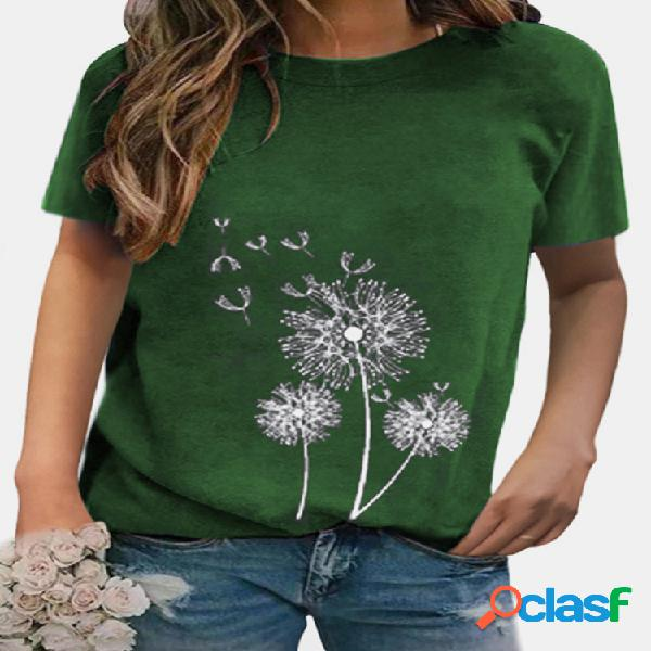 Camiseta feminina de manga curta com estampa de flores e decote em o