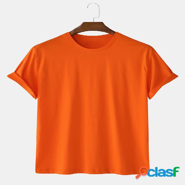 Camiseta masculina 100% algodão 5 cores básica camiseta de manga curta