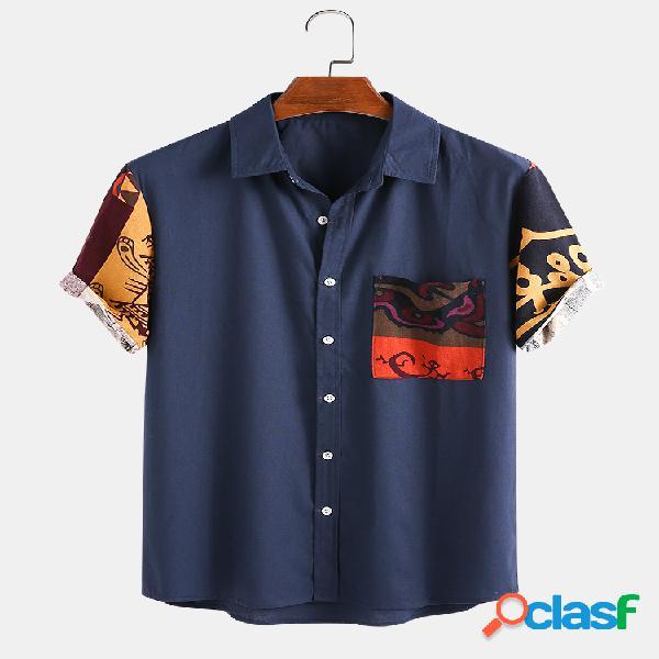 Homem 100% algodão étnico totem patchwork casual camisa