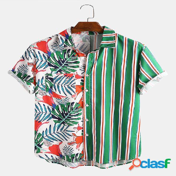 Homem tropical estampa listrada patchwork casual férias bainha curva camisa