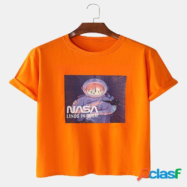 Astronauta casual masculina estampada 100% algodão respirável camiseta de manga curta