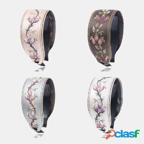 Francês retro simples cocar bordado flor ampla borda headband dente antiderrapante headband feminino