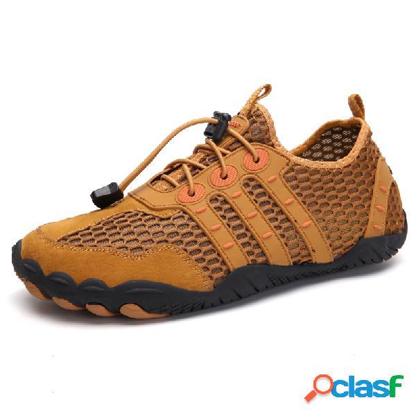 Homens malha antiderrapante secagem rápida laço elástico ao ar livre sapatos casuais de água