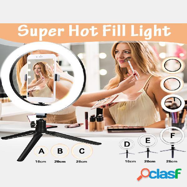 Lâmpada de luz de preenchimento de anel super quente 16cm / 20cm / 26cm sem / com tripé para fotografia de selfie vlog live streaming camera video beauty