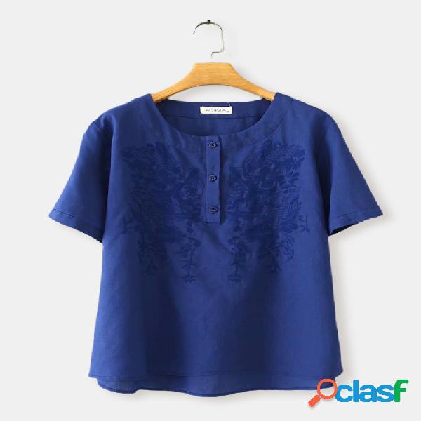 Algodão de cor sólida com estampa bordada plus tamanho t-shirt