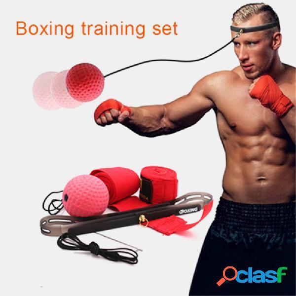 Bola de luta de boxe na corda aptidão conjunto de faixas de cabeça de perfuração melhorando a velocidade de reação dos olhos da mão