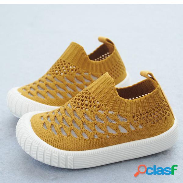 Crianças unisex tecido malha confortável respirável soft único deslizamento casual em sapatos baixos