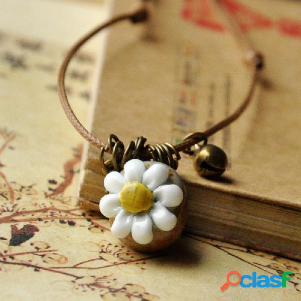 Flor estereoscópica geométrica vintage pingente colar étnico feito à mão cerâmico colar longo