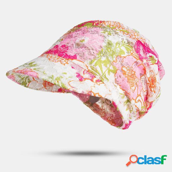 Impressão verão uv proteção solar chapéu rosto de capa ao ar livre praia ciclismo respirável top vazio chapéus